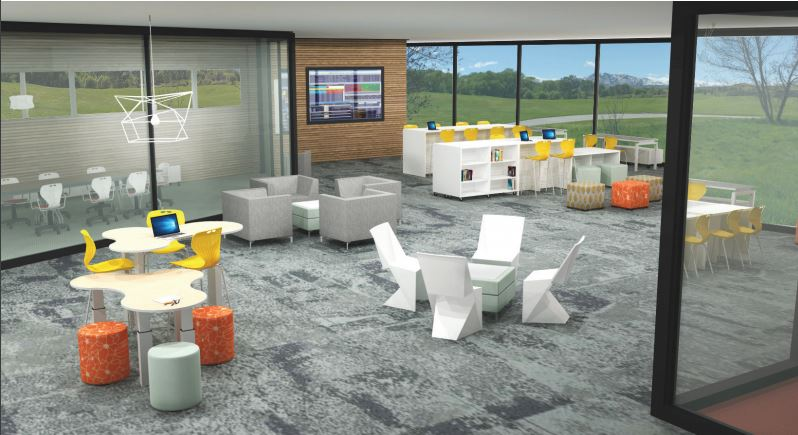 Rendering of Library with MiEN Furniture