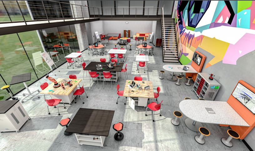 Rendering of School with MiEN Furniture